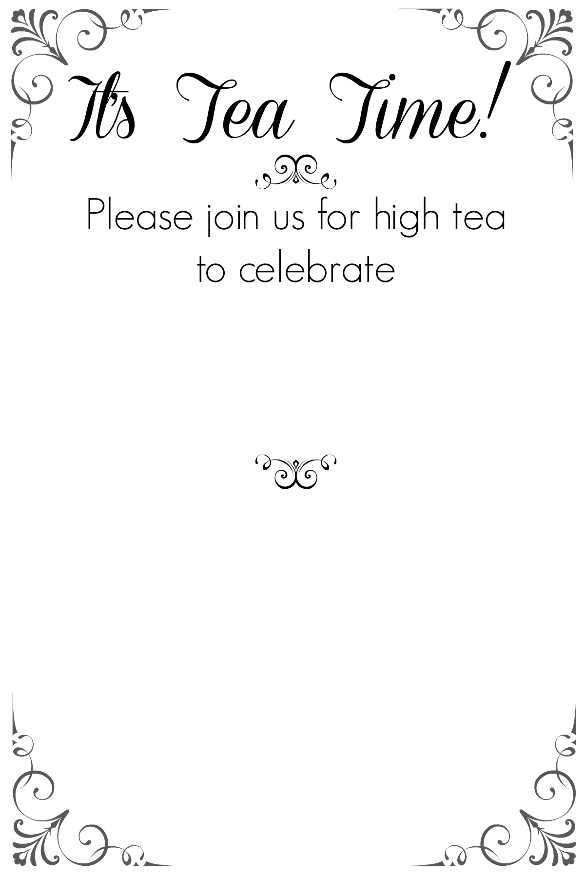High Tea Party Invitation